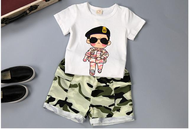 6bac1828fb0 Hot koop! zomer jongens leger kleding sets kids korte mouwen T-shirt + korte