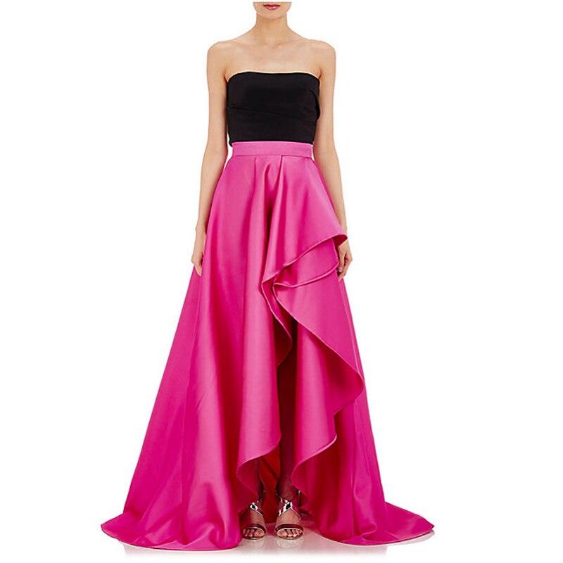 79e6a891fc Vintage fucsia alta baja tafetán faldas largas para mujeres elegantes a  fiesta Formal Falda larga primavera estilo plisado volantes cremallera