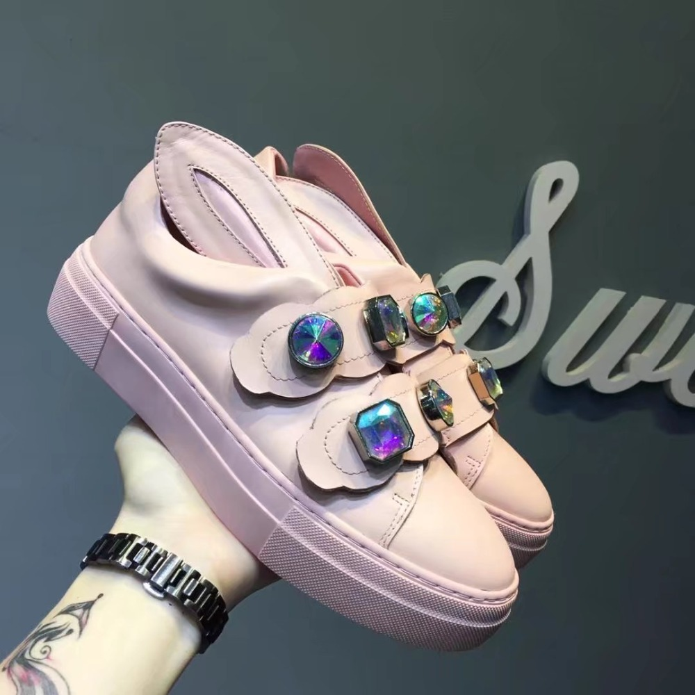 Brand White Leather Women Flats Chic Rabbits Ear Decor Cute Women Sneakers Crystal Embellished Women Casual Shoes Low Top Shoes chic metal bar embellished full frame sunglasses for women