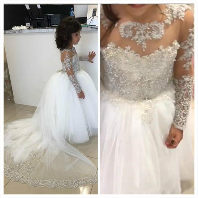 Luxury Crystals Beading Lace Flower Girl Dress for Wedding A-Line Long Sleeves Puffy Tulle Kids Birthday Dress Pageant GownLuxury Crystals Beading Lace Flower Girl Dress for Wedding A-Line Long Sleeves Puffy Tulle Kids Birthday Dress Pageant Gown