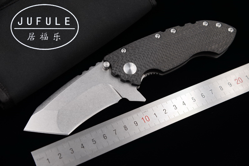 JUFULE Dire Ware SOLO ball Bearing Carbon fiber titanium handle D2 blade folding camp hunt outdoor pocket EDC tool kitchen knife dire needs