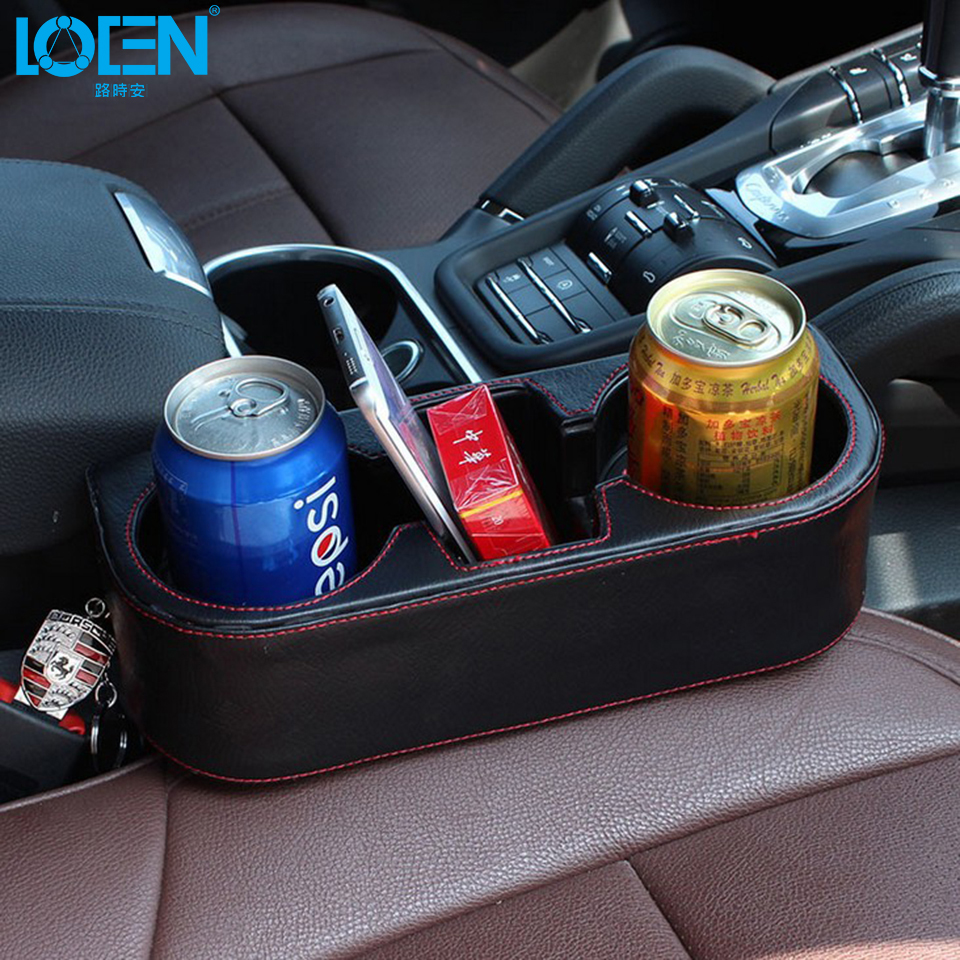 LOEN Boîte PU en cuir Portable siège de Voiture gap Tasse Boisson Holder Box pour hyundai chevrolet 0 bmw kia honda toyota toutes les voitures