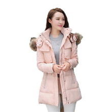 2016 New Winter Down Cotton Jacket Women Big Fur Collar Hooded Cotton-padded Jacket Slim Thicken Warm Wadded Outwear Parka A1253