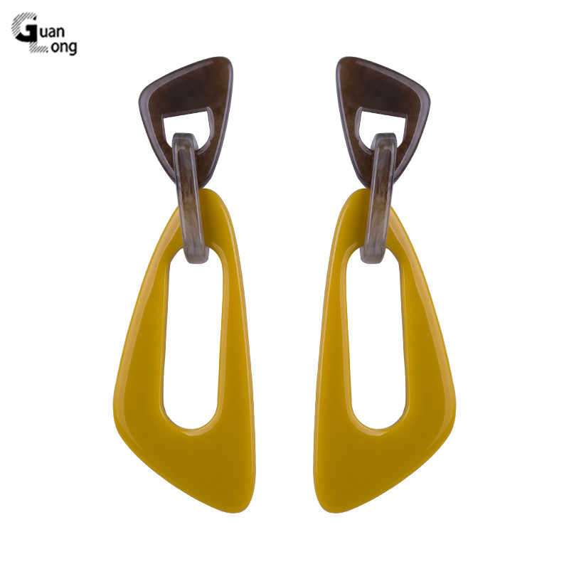 GUANLONG Classic Drop Fashion Resin Earrings for Women 2018 Statement Long Big Geometric Acrylic Dangling Earring Female Jewelry
