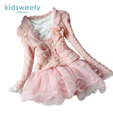 Kidsweety Girls Suits Cotton Long Sleeve Short Coat Dress Twinset Pleated Diamond Bead 3D Mesh Button Casual Girl Dresses Suits