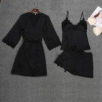 Fashion women's sexy satin Print strap robes pajamas underwear lace nightdress underwear set 3 Pieces Sets women nightgown hot