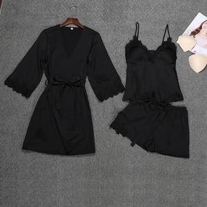Fashion women's sexy satin  Print strap robes pajamas underwear lace nightdress underwear set 3 Pieces Sets women nightgown hot