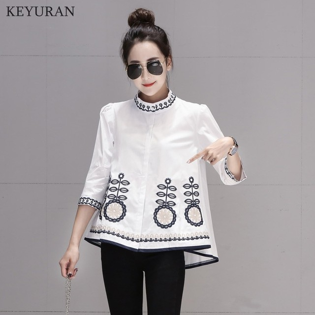 New Arrival 2020 Spring Autumn Ethnic Embroidery Women Shirts Stand Collar Three Quarter Sleeve Casual Loose Blouse Tops L3024 4