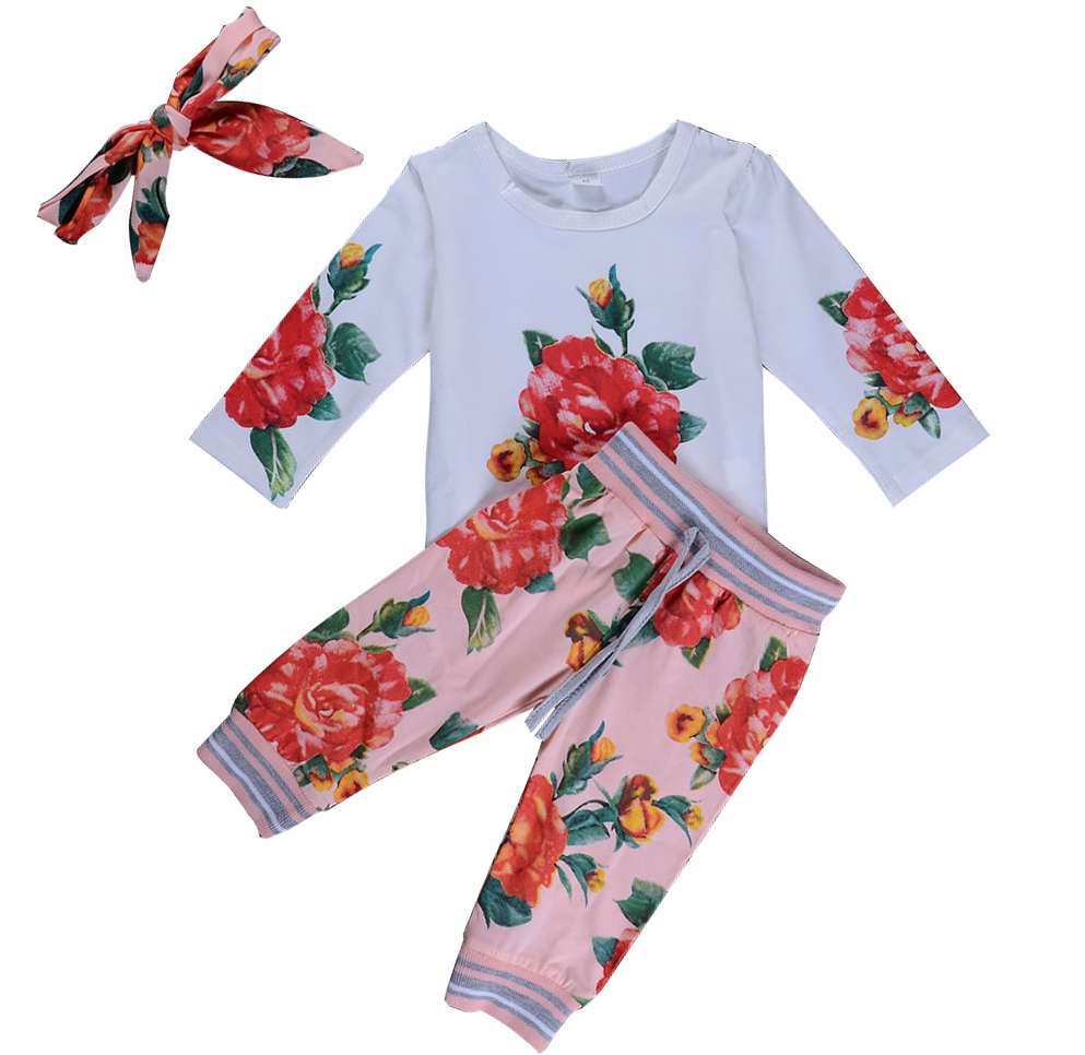 Infant Baby Girls Clothing Sets Floral White Tops Floral Print Striped Pants Headband 3pcs Bebe Boys Clothes Suits
