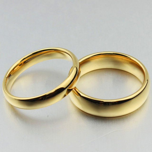 Free Custom Engraving 4mm 6mm S Simple Plain Gold Wedding Rings In Tungsten Carbide
