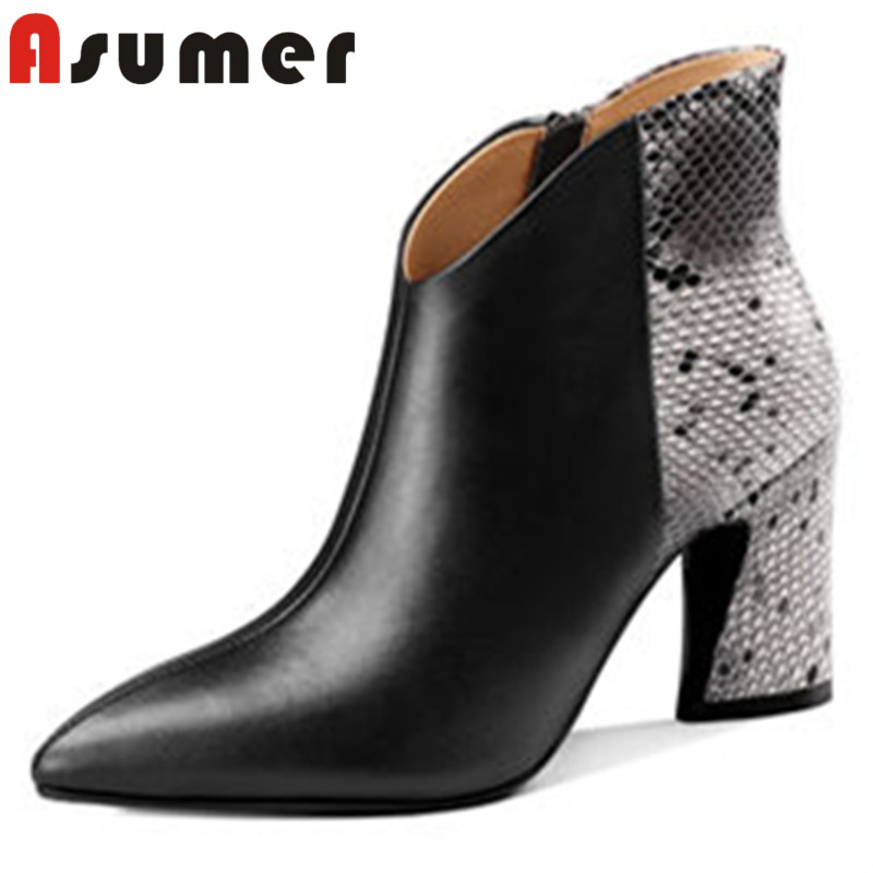 ASUMER HOT SALE 2018 fashion mixed colors ankle boots for women adult sexy winter boots pointed toe daily genuine leather boots стоимость