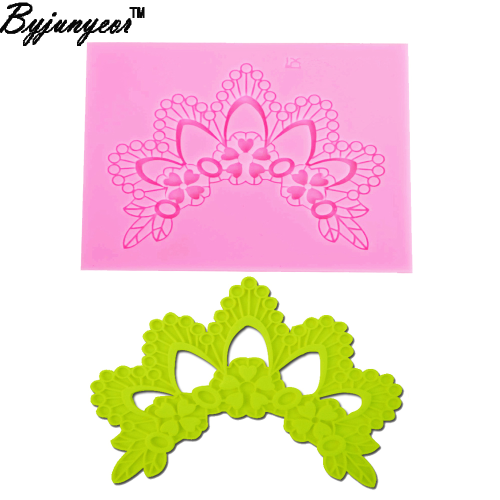 Cake Molds Enthusiastic Byjunyeor F1220 High Quality New Diy Craft Silicone Imperial Crown Lace Mold Cake Decorating Paste Tools 11.2*9.4*0.5cm Bakeware