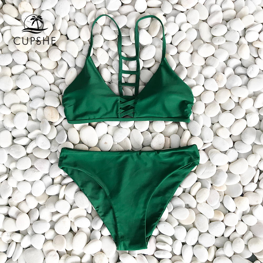 Cupshe Green Solid Bikini Set Women Push Up Cut Out Plain Two Pieces Swimwear 2020 Beach Strappy Sexy Bathing Suit Swimsuits 2