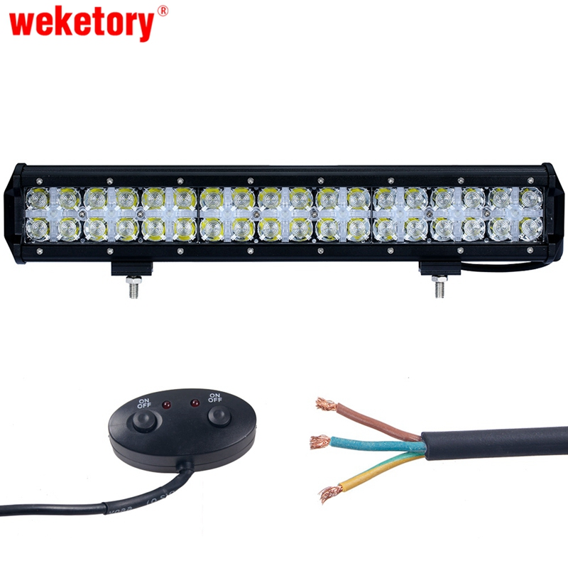 weketory 17 inch 180W 7D LED Work Light Bar for Tractor Boat OffRoad 4WD 4x4 Truck SUV ATV Spot Flood Combo Beam 12V 24v стоимость