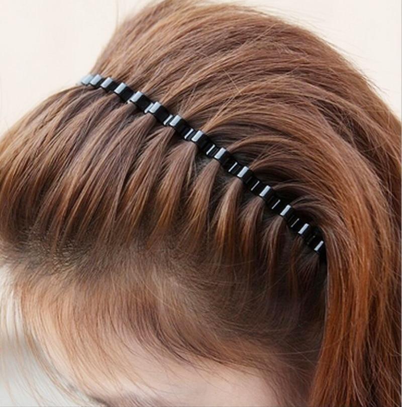 30 Pieces 4mm Black Metal Wave Headband Sport Headbands Unisex Headwear