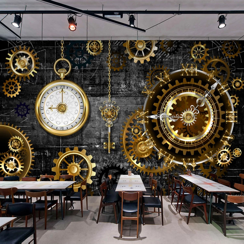 3D Wallpaper Gold Gear Watch Mural Retro Restaurant Cafe Bar Background Wall Paper Creative Art Decor Wall Painting 3D Wallpaper3D Wallpaper Gold Gear Watch Mural Retro Restaurant Cafe Bar Background Wall Paper Creative Art Decor Wall Painting 3D Wallpaper