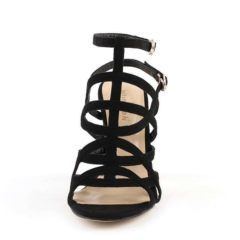 donna pelle Prom scarpe tacchi pecora Gladiatore Trendy altissimi sandali neri Doratasia Sexy donna da marchio di di Top partito design qualità IqxzBC6w