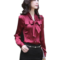 2017 Autumn Slim Women Tie V Neck Fack Siik Shirts Solid Plus Size Female OL Blouses