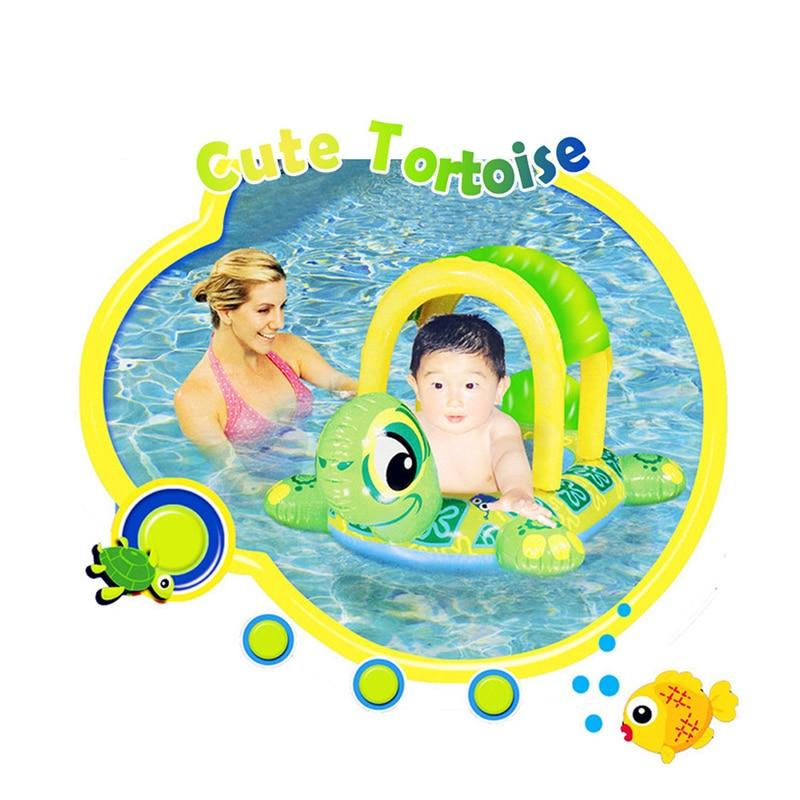 New 2019 Cute Kids Cartoon Turtle Boat Swimming Circle Visor Inflatable  Pool Swim Ring Seat Float Boat Water Sports