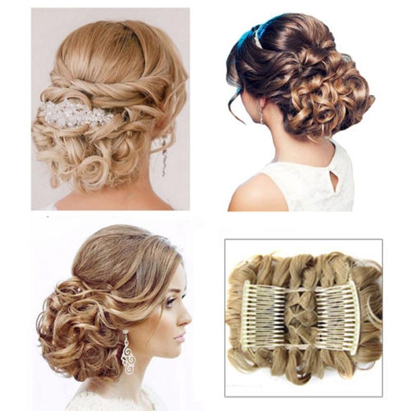 Begonia.K 41 Colors Women Curly Chignon Comb Headwear Fashion Hair Bun Claws Hair Extension Hairpiece wig Clip Hair Accessories