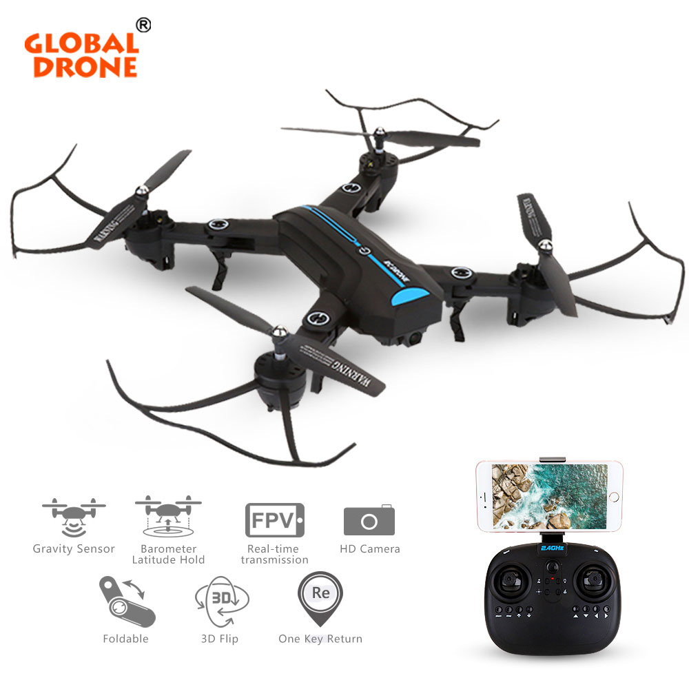 Global Drone A6W Foldable Arms Drones Wide Angle Wifi FPV Selfie Drone With Camera HD Quadcopter VS XS809HW drone a6w wifi ffv selfie drone foldable quadcopter with hd camera rc quadrocopter vs xs809hw jy018