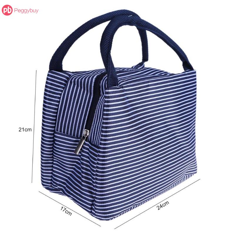Canvas Stripe Insulated Cooler Bags Thermal Food Picnic Lunch Bags Leisure Women Portable Lunch Bag Kids Lunch Box Bag Tote