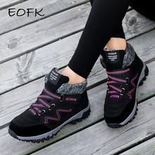 EOFK; зимние женские ботинки; женские теплые ботинки из натуральной кожи на плоской платформе с мехом; водонепроницаемые зимние кроссовки; плюшевые модные повседневные ботинки