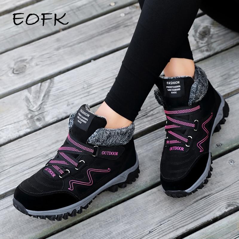 Botas de invierno EOFK para mujer botas de cuero genuino para mujer con plataforma plana de piel impermeable para nieve-in Botas hasta el tobillo from zapatos    1