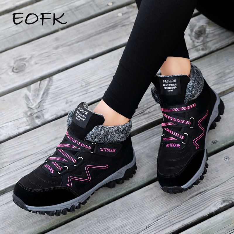 EOFK Winter Women Boots Woman Lady Genuine Leather Warm Flat Platform Fur Waterproof Snow Sneakers Plush Fashion Casual Boots-in Ankle Boots from Shoes    1