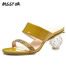 MSSTOR Crystal Yellow Slippers Women Plus Size 33-42 Fashion Peep Toe Casual Women Shoes High Heel Strange Style Summer Shoes