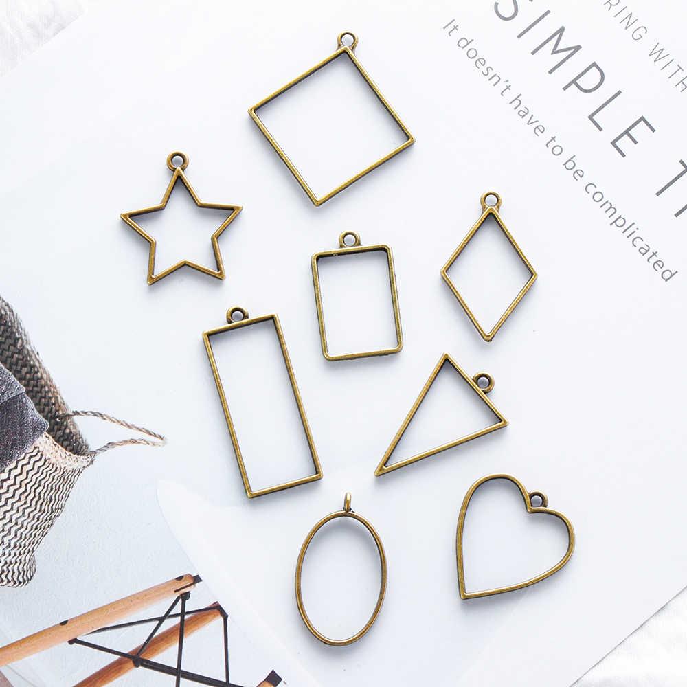 جديد 8 قطعة الموضة متنوعة هندسية الجوف ضغط زهرة الإطار قلادة الراتنج كابوشون صنع المجوهرات Craft بها بنفسك الحرفية