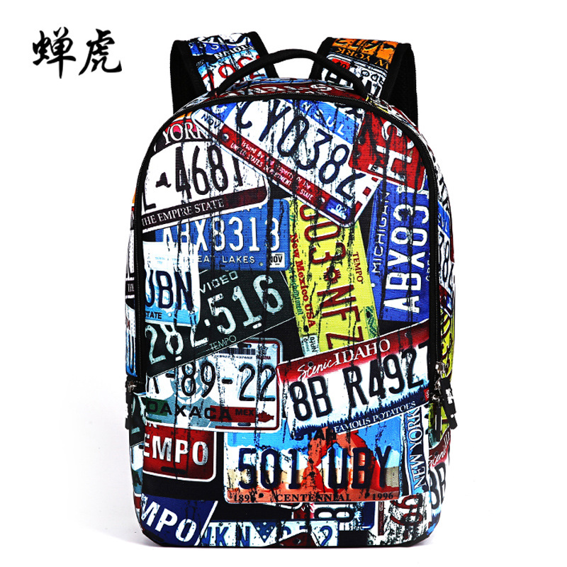 Runningtiger New Hot sale License Plate embossing boys students bag school backpacks men travel backpack package free shipping smaart v 7 new license