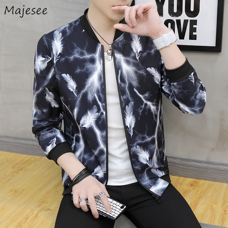 Jackets Men's Clothing Jackets Men Stand Collar Printed Zipper Pockets Leisure Daily High Quality Hip Hop Trendy Jacket Mens Ulzzang Soft Overcoats