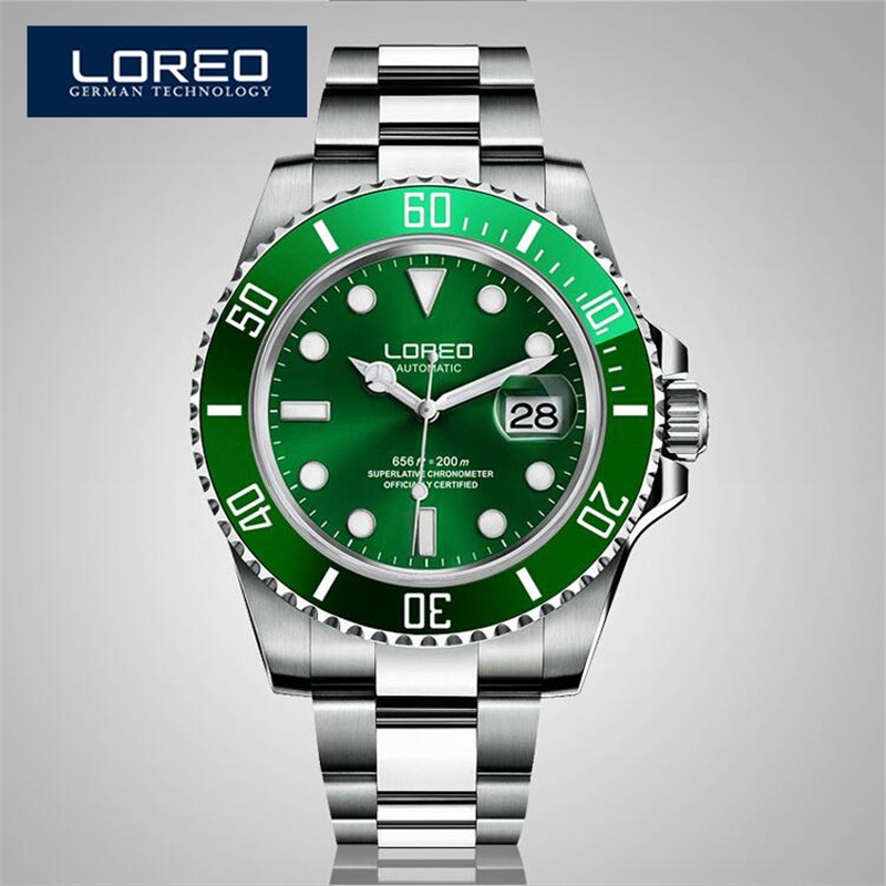 LOREO Sapphire Automatic Mechanical Chronograph Watch Men Stainless Steel 200m Waterproof Diver Watch Relogio Masculine AB2033 loreo sapphire automatic mechanical watch men stainless steel waterproof auto date nylon watch relogio masculine masculino k34