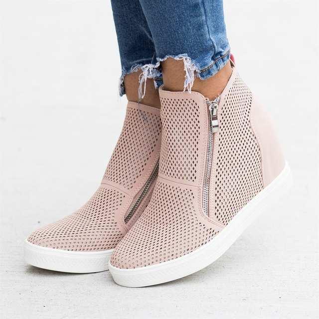 SHUJIN 2019 Leather Woman Shoes Casual Breathable Increasing Vulcanized Shoes Women Zipper Sneakers Leisure Platform Shoes