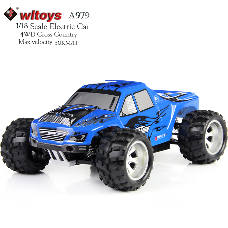 WLtoys A979 RC Car 4WD  High Speed Electric Car 2.4G 1:18  Scale 4WD Monster Truck Off-road Remote Control Vehicle 50KM/H wltoys k969 1 28 2 4g 4wd electric rc car 30kmh rtr version high speed drift car