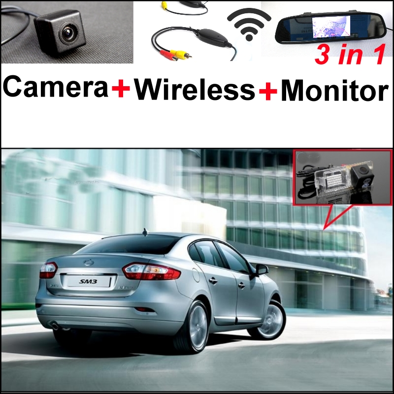 3 in1 Special Rear View Camera + Wireless Receiver + Mirror Monitor Easy Back Up Parking System For Renault Samsung SM3 wireless pager system 433 92mhz wireless restaurant table buzzer with monitor and watch receiver 3 display 42 call button