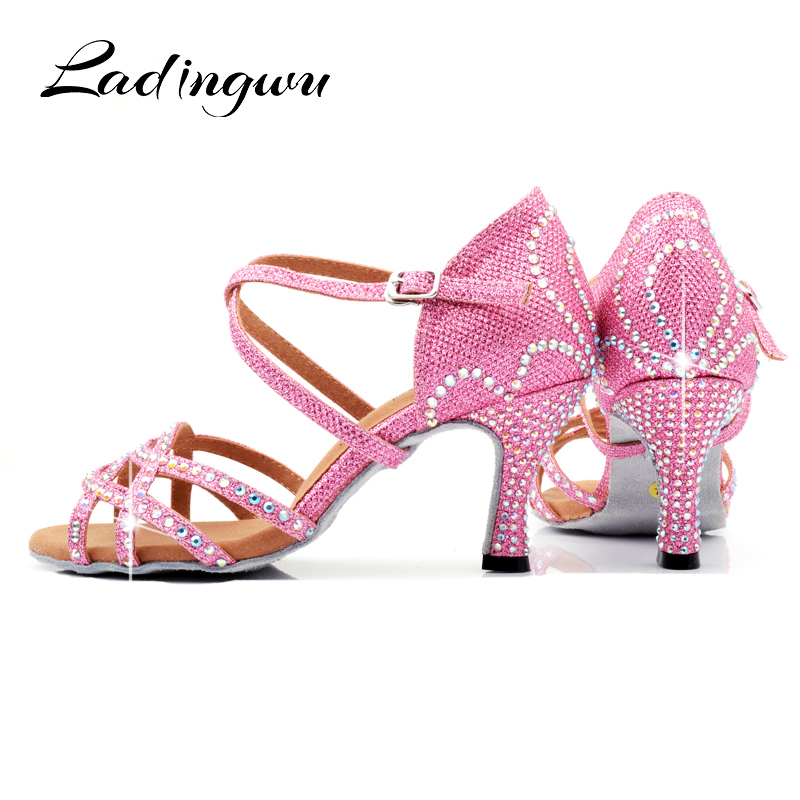 Ladingwu Pink Glitter Dance Shoes Latin Woman Crown Pattern Rhinestone Design Ballroom Dance Shoes Girls Profession Salsa Shoes