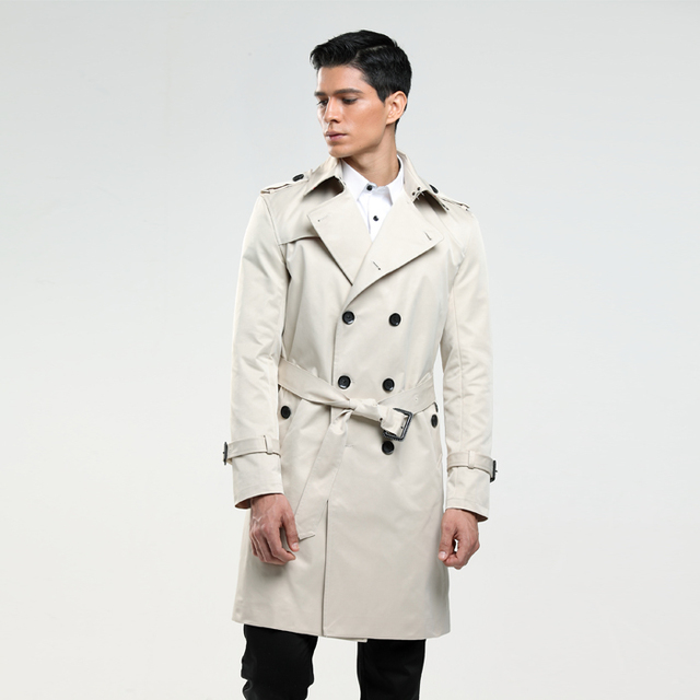 6XL Men's trench coat size custom-tailor England man's double-breasted long pea coat trench slim fit classic trenchcoat as gifts