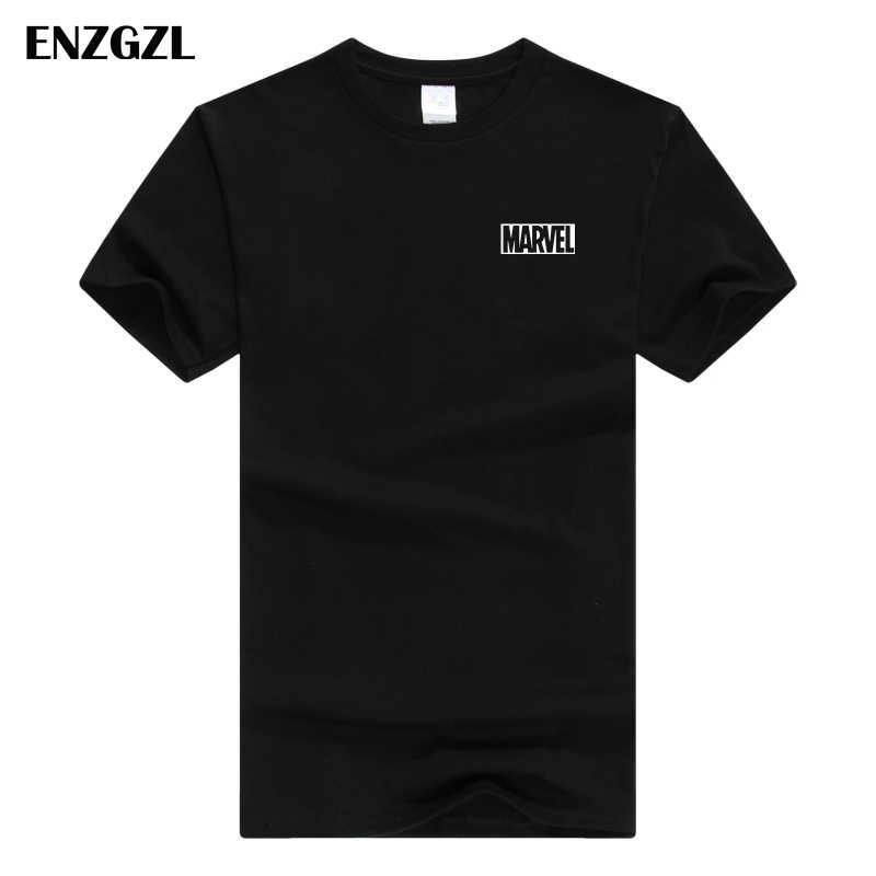 ENZGZL 2018 新 Tシャツメンズカジュアル綿快適なトップス白マーベルブラックストリート tシャツ高品質フィットソリッドカラー