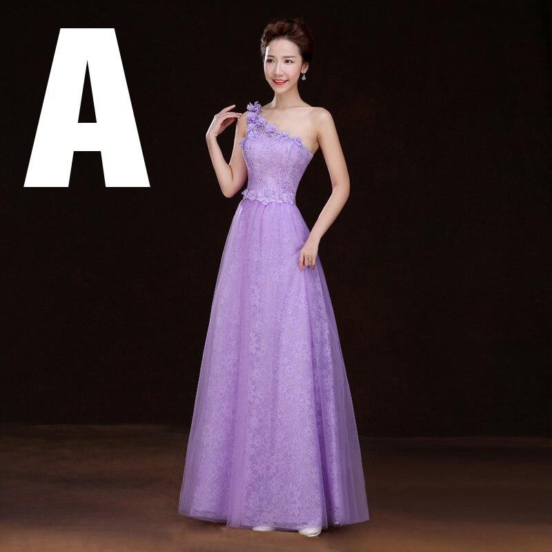 Baratos Vestidos de fiesta de dama de honor púrpura del diseño largo ...