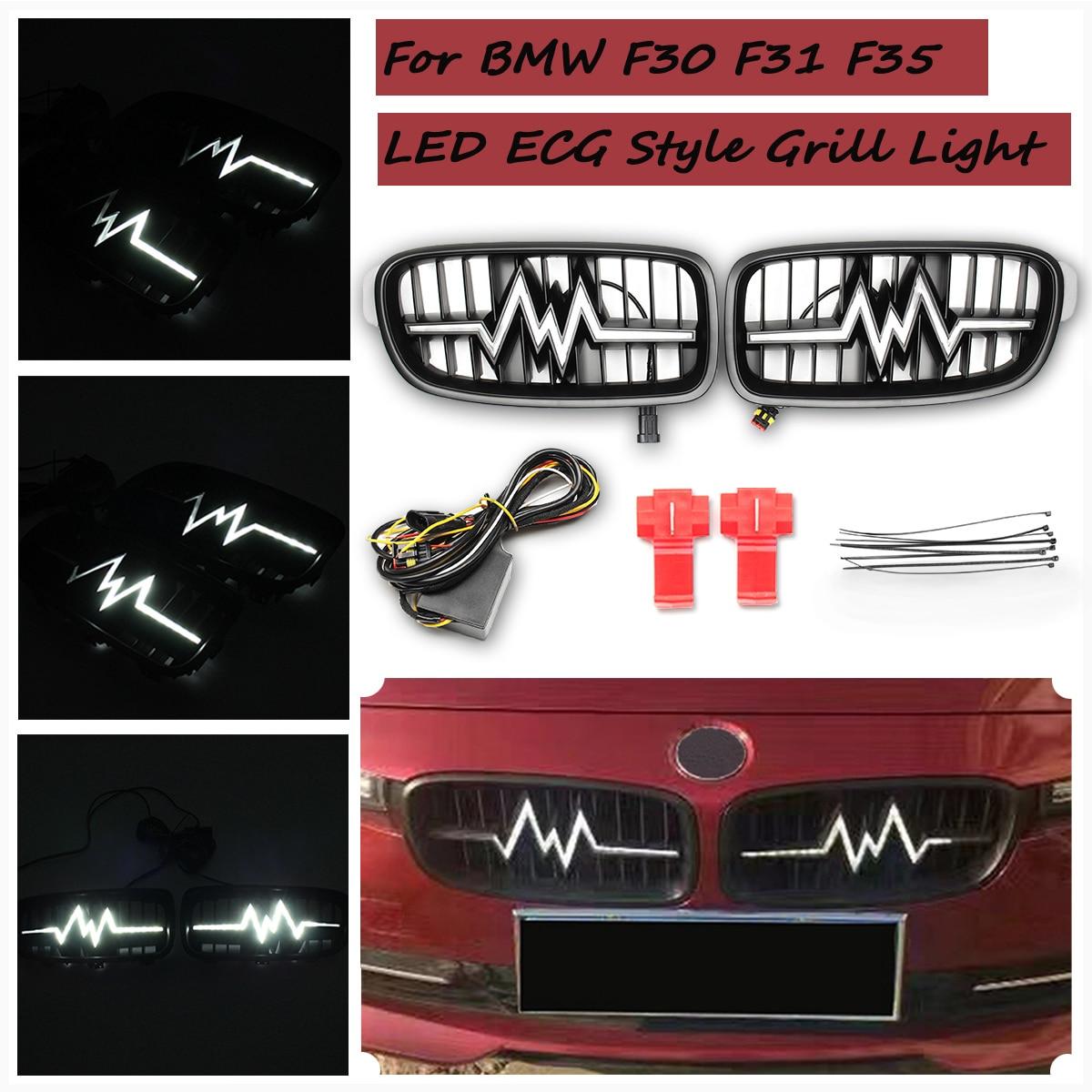 Для BMW 3 серии F30 F35 электрокардиограмма светодиодный Гриль свет поворотах лампы стилизации автомобилей передний капот почек гонки решетка о