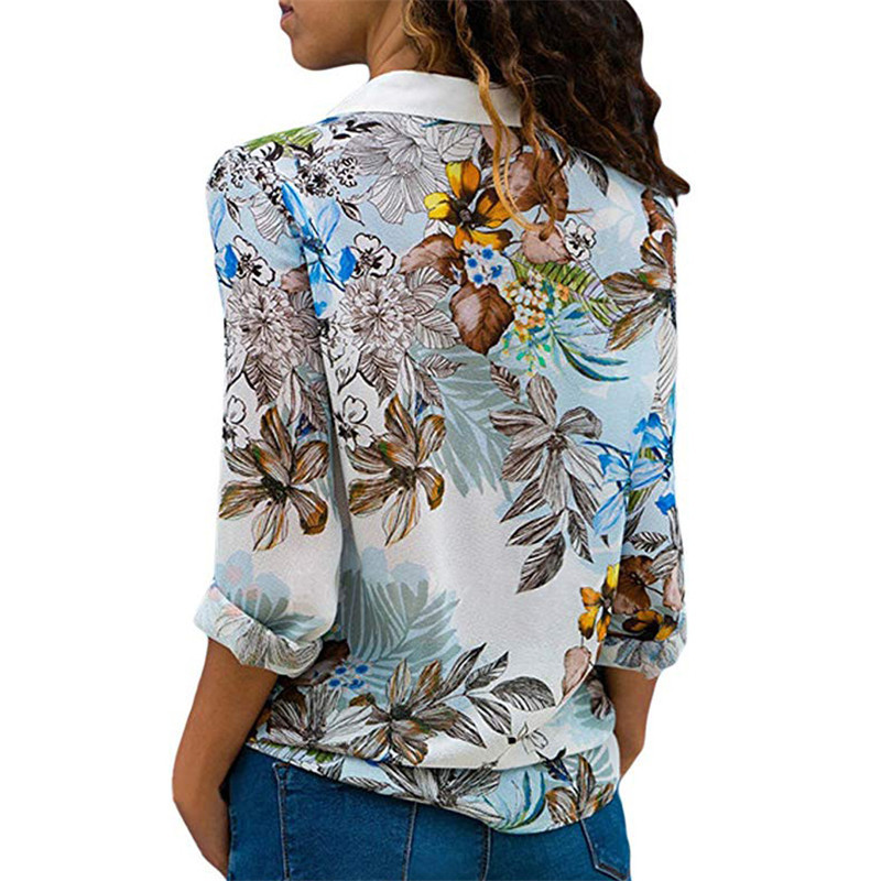 women blouses chiffon flower 2019 fashion print long sleeve shirt sexy streewear female shirts V-neck gothic ladies tops