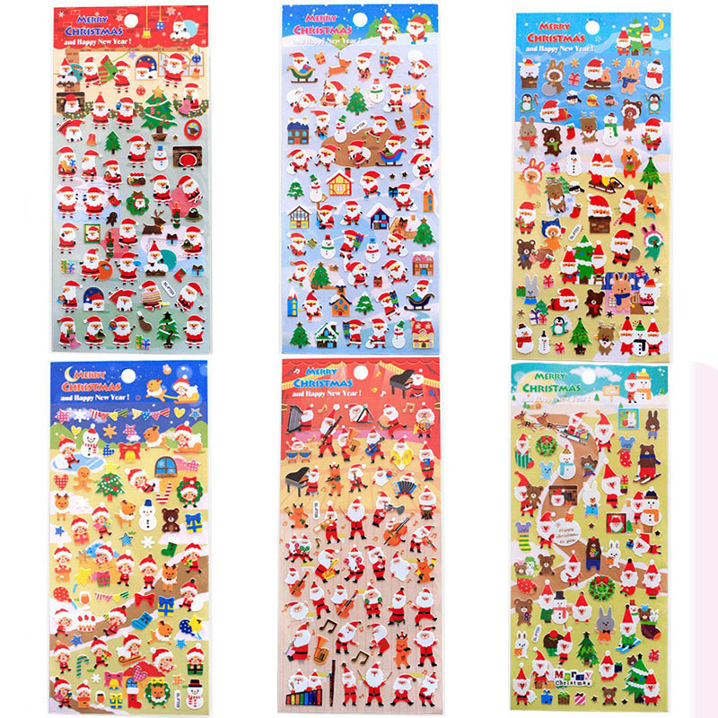 2Pcs Christmas Decorations Cute Santa Claus Christmas Tree Snowman Cartoon Notebook Phone Sticker Office School Supplies