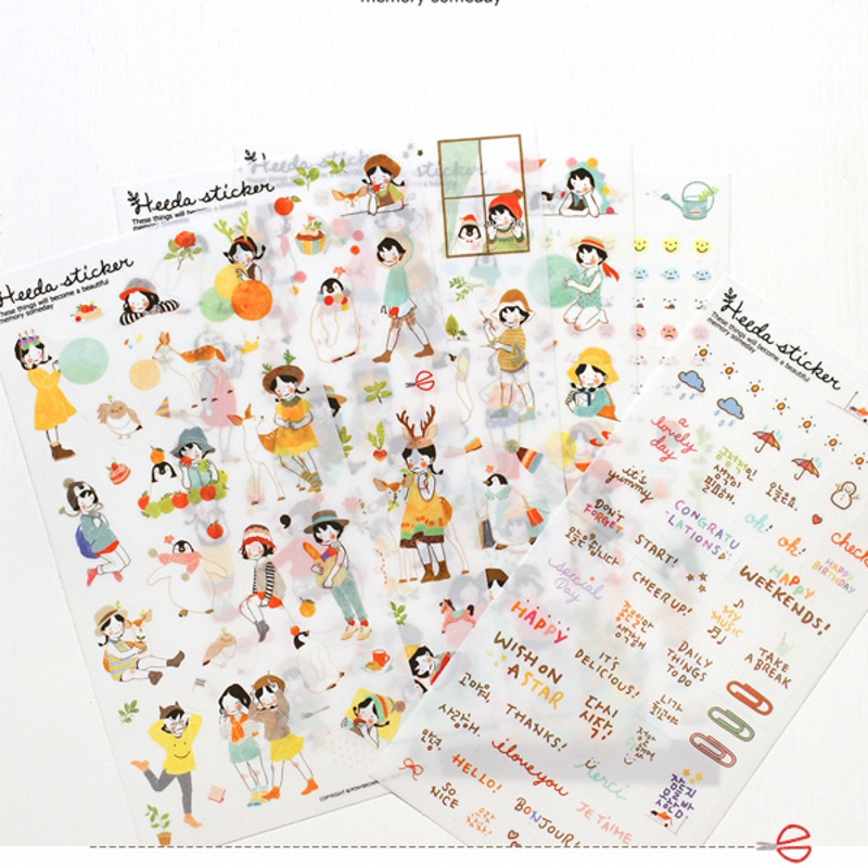 MQStyle 6Pcs / Sets New Korean Sweet Girl Transparent Diary Decorative Stickers For Diary Scrapbooking Sticker Label H0116