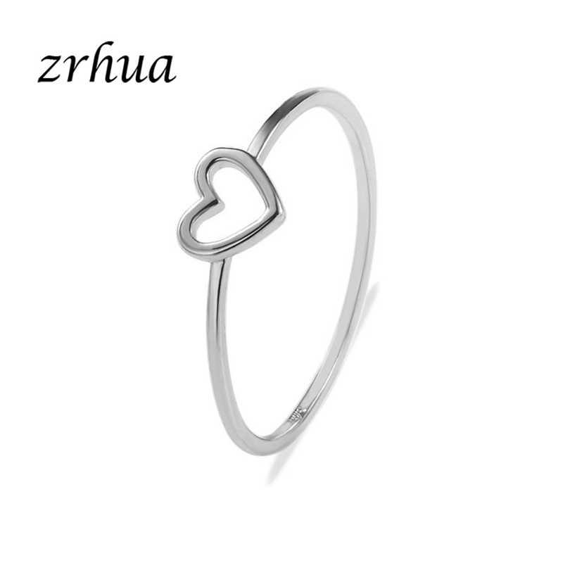 ZRHUA Charm 2018 ใหม่แฟชั่นคุณภาพสูงทอง/เงินรูปหัวใจงานแต่งงานแหวนผู้หญิงDropshippingราคาถูกนิ้วมือanel
