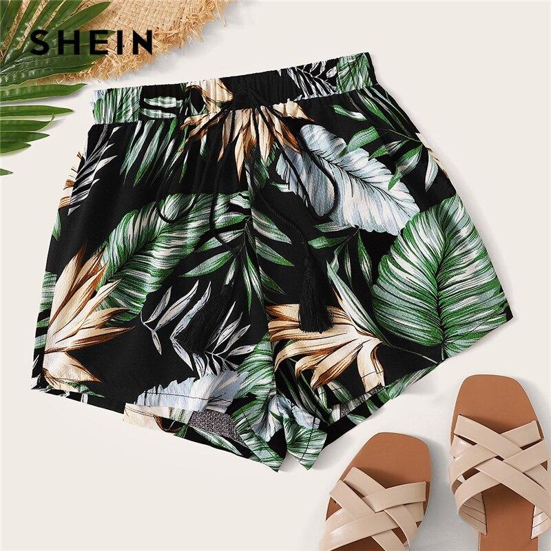 SHEIN Tropical Print Tassel Drawstring Waist Shorts Women Beach Style Bohemian Mid Waist Straight Leg Summer Casual Shorts