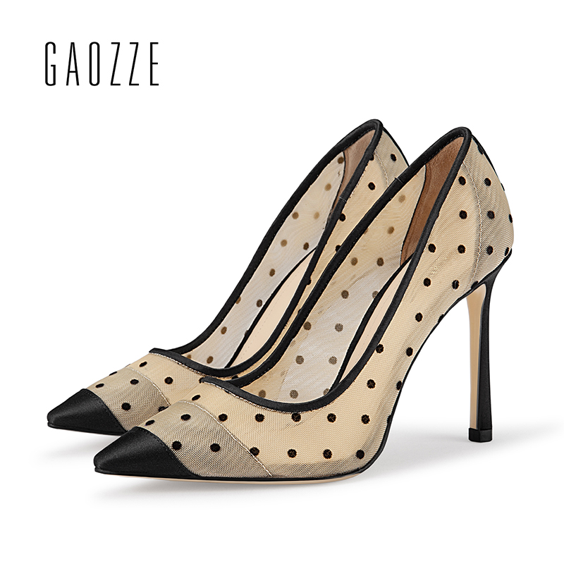 все цены на GAOZZE Fashion Polka Dot Mesh Women Sexy Stiletto High Heel Shoes Pointed Toe Party Shoes Pumps Women Heels Pumps 2018 Spring