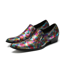 Chaussure homme spring summer genuine leather breathable candy color slip on loafers low heels men dress wedding brogues 2020