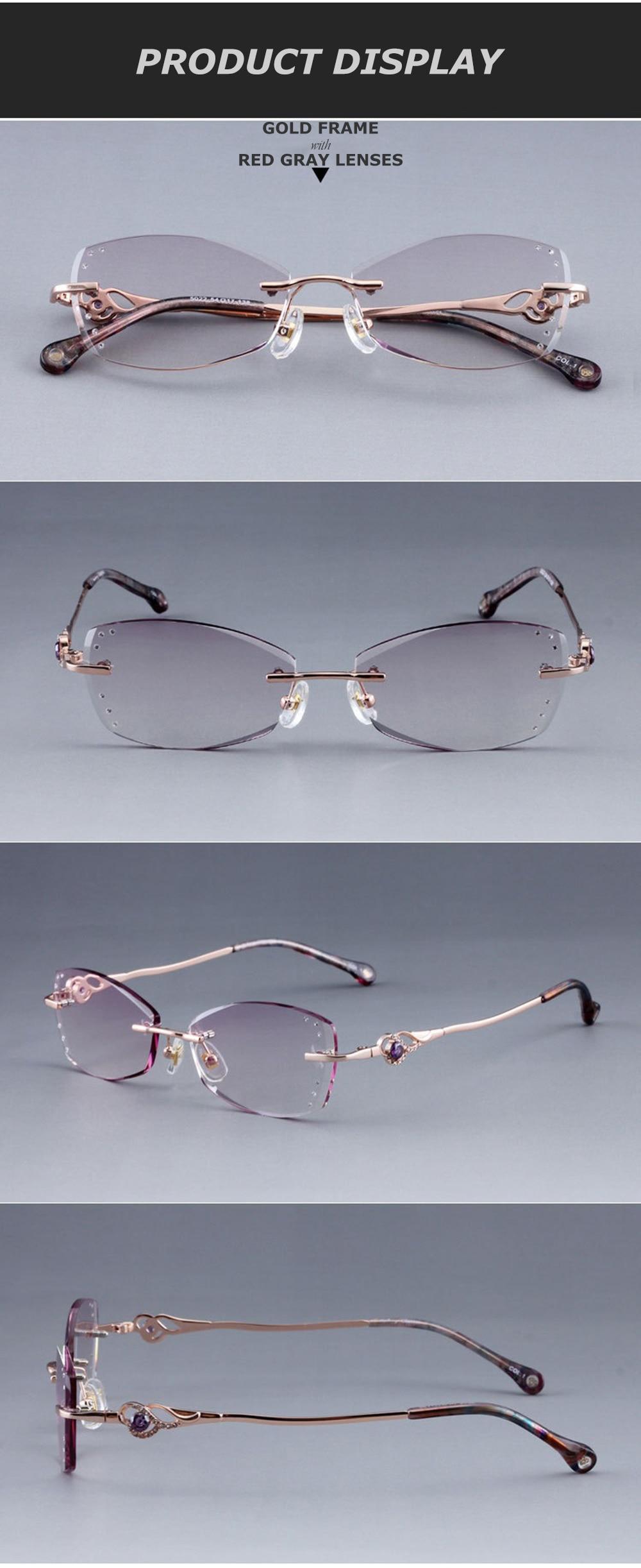 917e44762c Gafas con marco de titanio para mujer a la moda con cristales de diamantes  de imitación de marca Chashma
